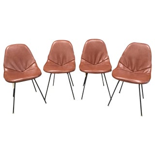 Set of 4 Midcentury Brown Vinyl Dining Side Chairs For Sale