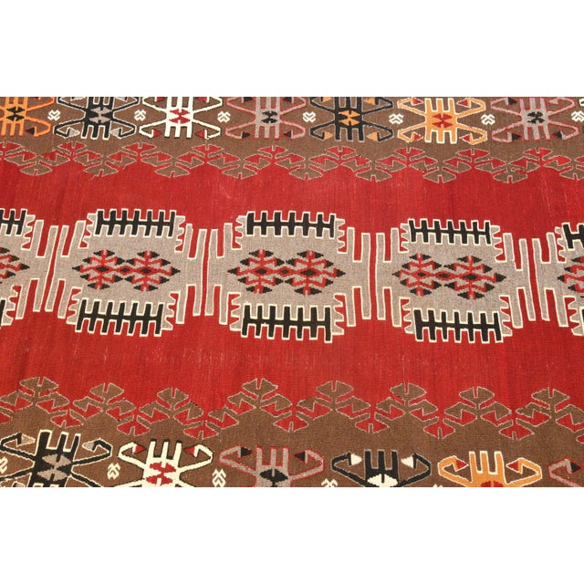 1950s 9x4 Ft Antique Turkish Traditional Kilim Rug Oushak Geometric Design Red Color Kilim Oriental Tribal Wool Kilim Rug For Sale - Image 5 of 6