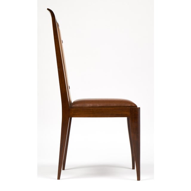 French Art Deco Solid Walnut Dining Chairs- Set of 6 - Image 5 of 11