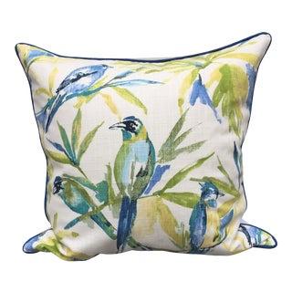 Stout Blue & White Botanical Cotton Pillow For Sale