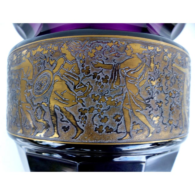 Art Deco 1920's Moser Vase With Oroplastic Etching For Sale - Image 3 of 9