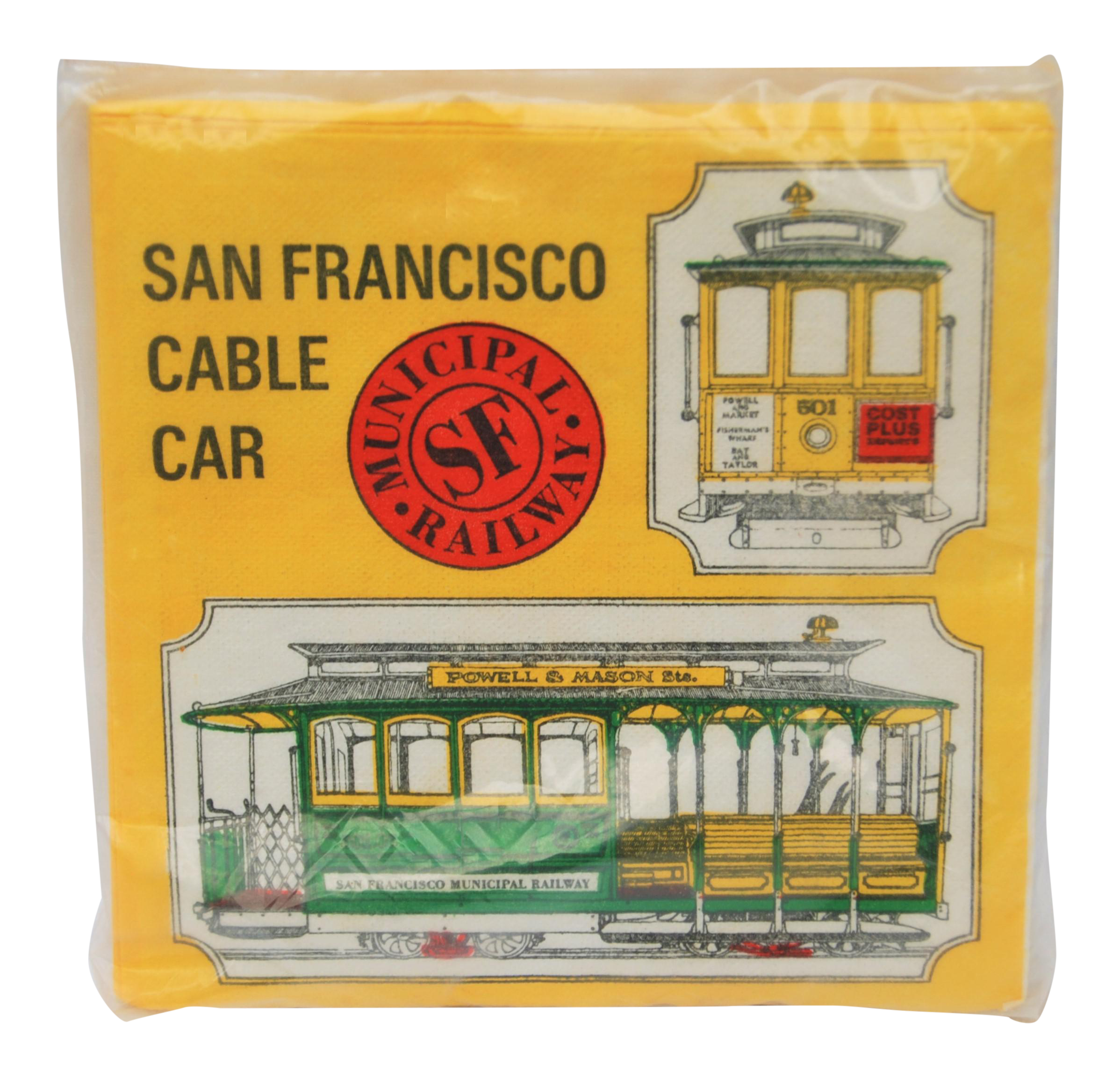 Attractive Vintage San Francisco Cable Car Paper Napkins   Set Of 24   Image 1 Of 6
