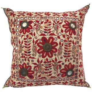 19th Century, Rajasthani Colorful Embroidery and Mirrored Decorative Pillow