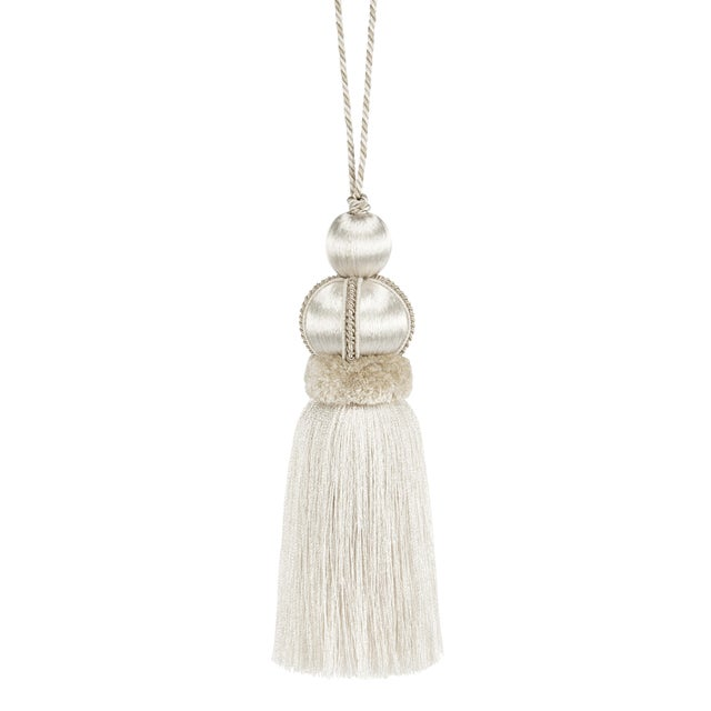 "Ivory Key Tassel With Cut Ruche - Tassel Height 5.75"" For Sale"