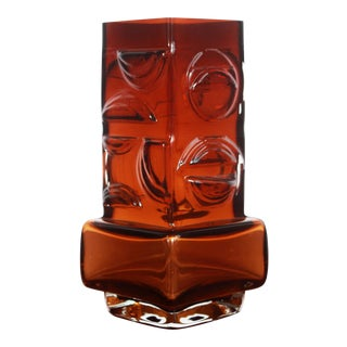 Vintage Scandinavian Amber Art Glass Vase by Pentti Sarpaneva for Oy Kumela For Sale