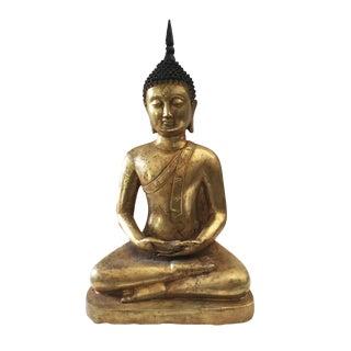 "Vtg Lg Bronze Meditating Buddha 16"" H"