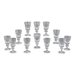 Set of 14 Steuben Handblown Crystal Baluster Water Goblets #7877, circa 1940s For Sale