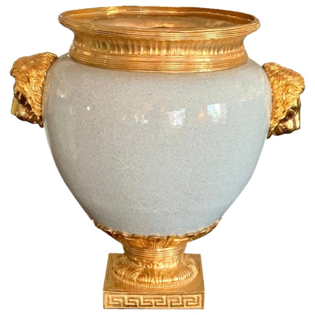 Chinese Crackle Glaze and Ormolu Lion Motif Urn For Sale