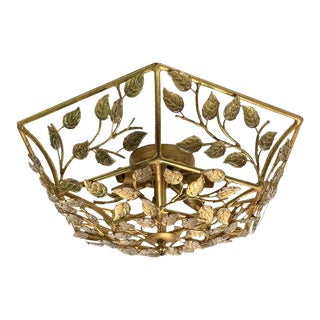 Bagues Style Gilded Wrought Iron & Crystal Flush Mount Light For Sale