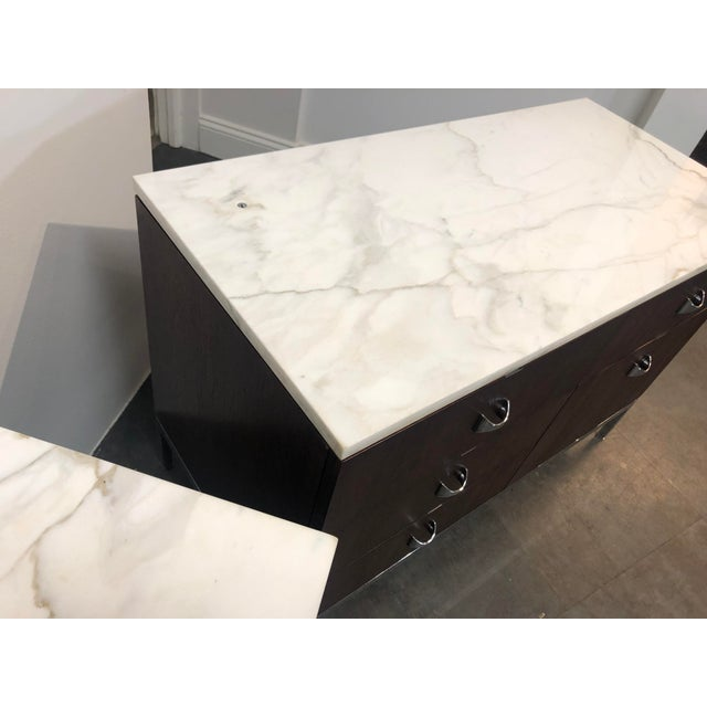 Brown 1960s Mid-Century Modern Florence Knoll Rosewood and Marble Credenza Ensemble - 2 Pieces For Sale - Image 8 of 13