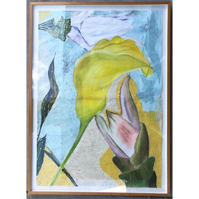 Large Mixed Media Flowers/Signed For Sale - Image 10 of 10