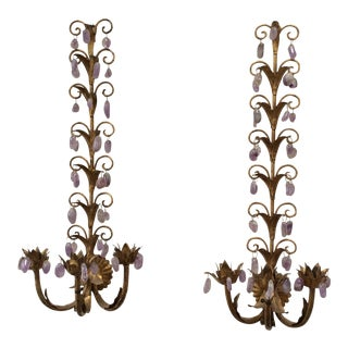 Italian Gilt Metal Amethyst Wall Sconces - A Pair For Sale