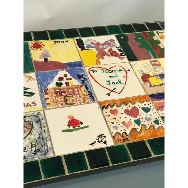 Ceramic WHIMSICAL CERAMIC TILE TOP COFFEE TABLE WITH HAND-PAINTED NOSTALGIC SCENES For Sale - Image 7 of 8