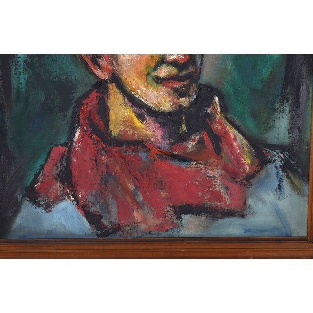 """Vintage Abstract Oil Painting """"Self Portrait in the Circus"""" by Nik Krevitsky For Sale - Image 4 of 7"""
