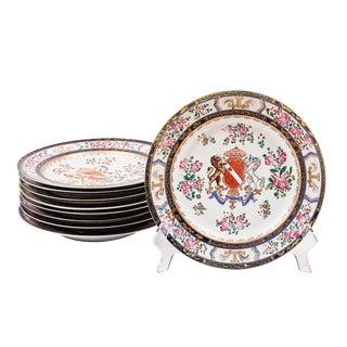 1860 Antique French Samson Armorial Plates - Set of 9