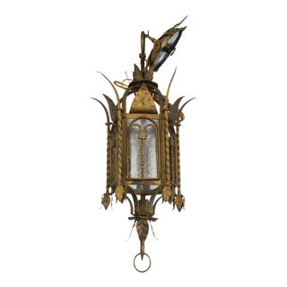 Vintage 1920s Addison Mizner Style Chandelier Spanish Colonial in Patinated Wrought Iron and Glass For Sale