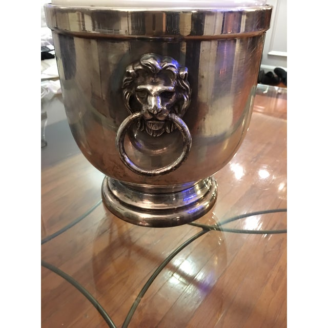 Antique Old English Sheffield Silver Lion Head Ice Bucket For Sale - Image 4 of 10