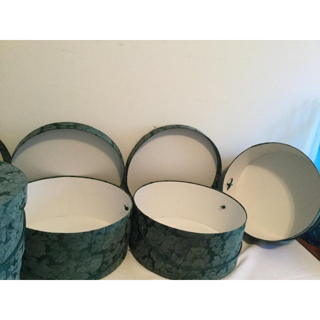 Vintage Fabric Covered Hat Boxes For Sale - Image 11 of 12