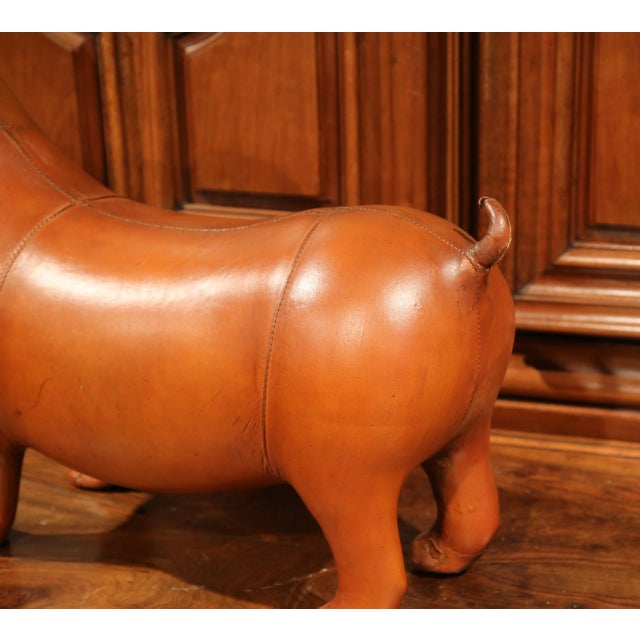 Large French Brown Leather Dog Footstool For Sale In Dallas - Image 6 of 9