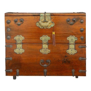Antique Korean Tansu Wedding Trunk For Sale
