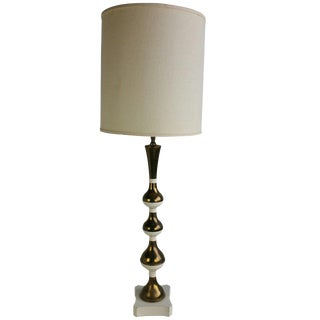 Modern Hollywood Regency Style Brass and White Table Lamp For Sale