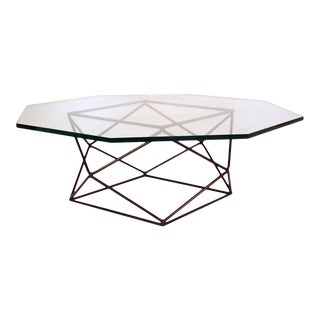 Milo Baughman for Directional Geometric Bronze Glass Coffee Table For Sale
