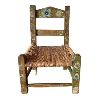 Vintage Hand Painted Cane & Wood Child's Chair For Sale