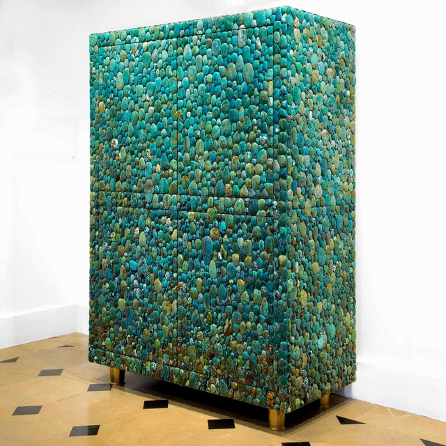 Contemporary Kam Tin - Turquoise Cabinet With Four Opening Doors, Made of Turquoise Cabochons For Sale - Image 3 of 8