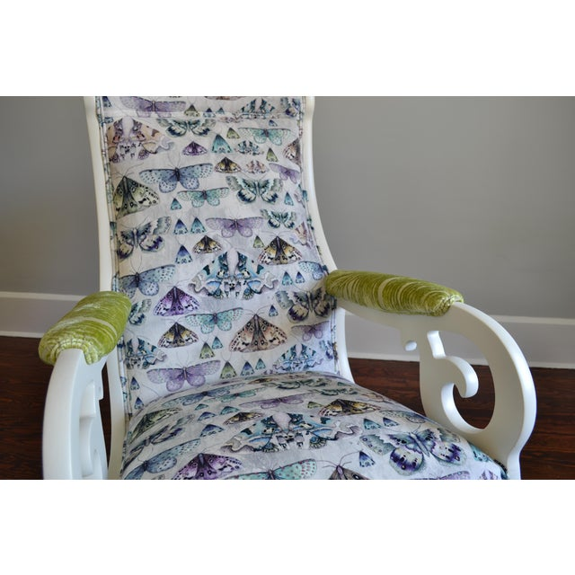 Upholstered Wood Rocking Chair in Antique White With Moth Print Velvet - Image 5 of 6