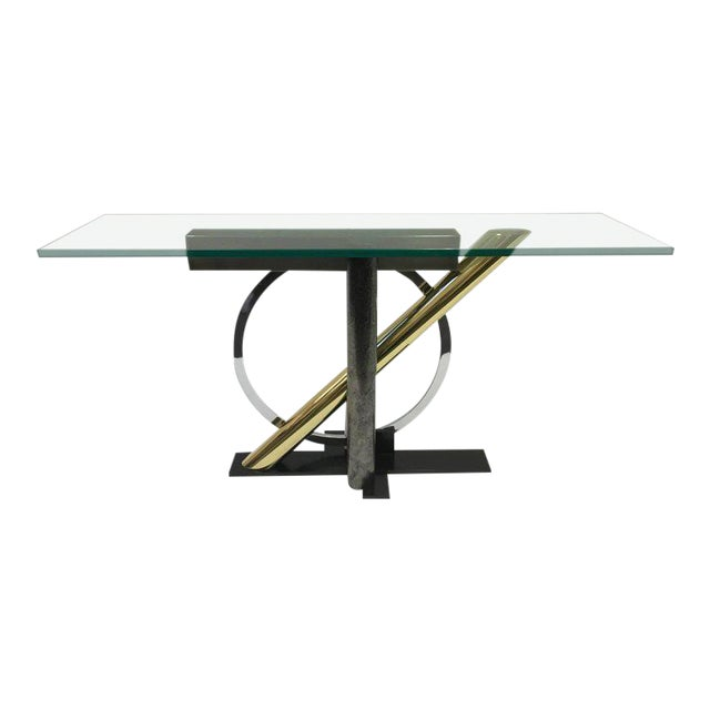 Mixed Metals and Glass Console Table by Kaizo Oto for DIA For Sale