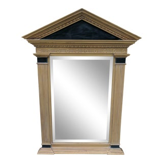 Neoclassical Column Black and Gold Beveled Mirror For Sale