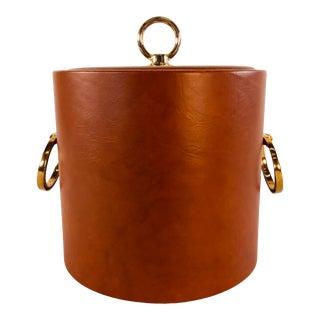 Vintage 1960s Rust Vinyl & Gold Metal Ice Bucket For Sale