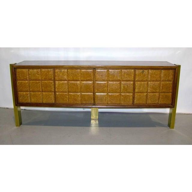 Paolo Buffa 1940s Minimalist Dark & Light Wood Cabinet Sideboard on Brass Legs For Sale - Image 4 of 12