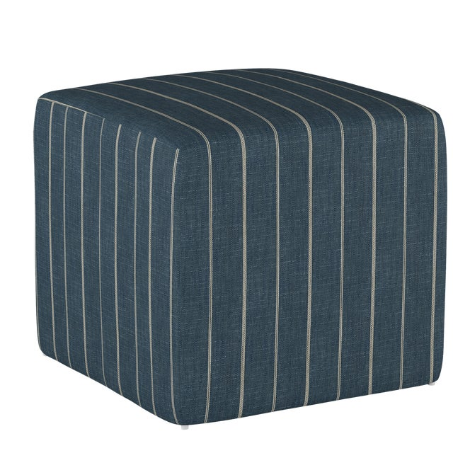 Fritz Indigo Cube Ottoman For Sale In Chicago - Image 6 of 7