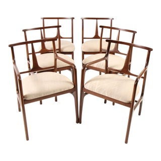 Mid-Century Modern Walnut Dining Chairs - Set of 6 For Sale
