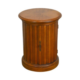 French Louis XVI Style Vintage Fruitwood Round Cylinder Cabinet Side Table For Sale