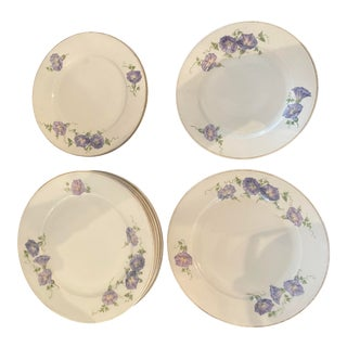 Antique Early 19th Century Morning Glory Plates - Set of 10 For Sale