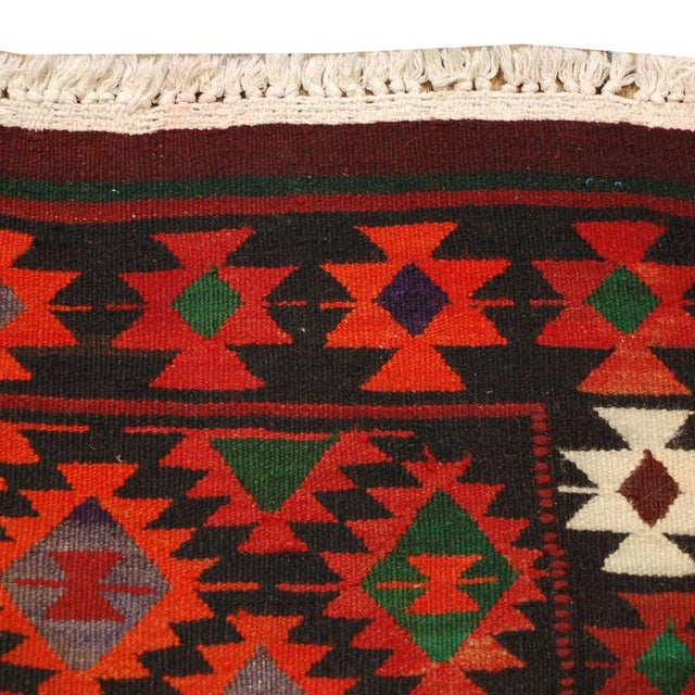 "Early 20th Century Persian Qazvin Kilim Runner - 39"" x 99"" For Sale - Image 4 of 4"