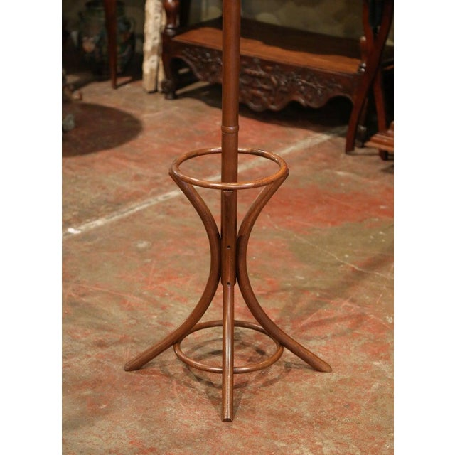 Art Deco Mid-20th Century French Bentwood Swivel Coat Stand or Hat Rack Thonet Style For Sale - Image 3 of 7