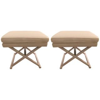 Upholstered X Bench Ottomans - A Pair