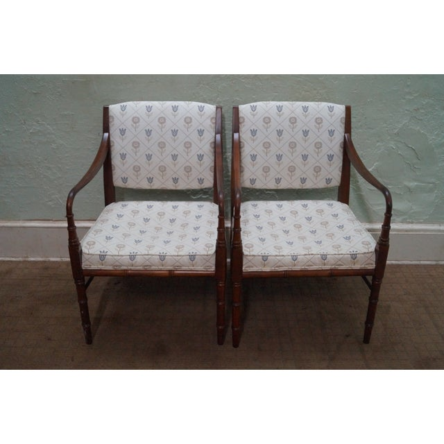 Solid Mahogany Faux Bamboo Arm Chairs - A Pair - Image 2 of 10