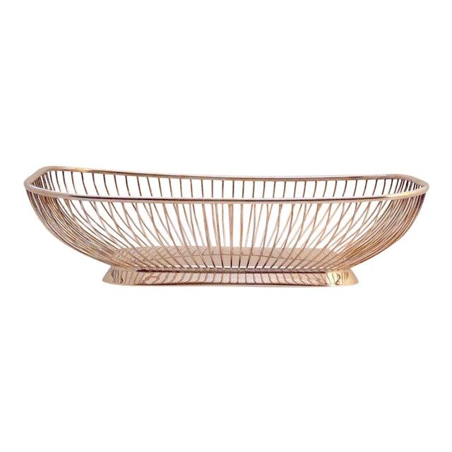 1980s Mid-Century Modern Silverplate Wire Bread Basket For Sale