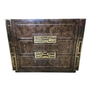 Campaign Burlwood and Brass Dresser by Mastercraft, 2 Available For Sale