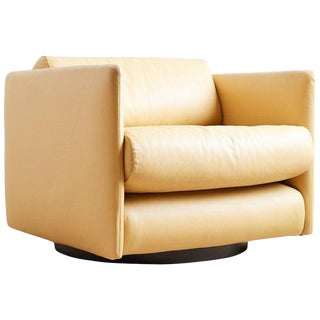 Harvey Probber Style Leather Cube Swivel Chair For Sale