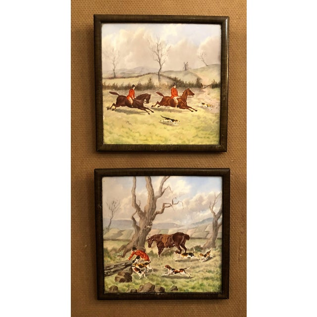 Set of 6 Antique English Minton Fox Hunt Tiles, Circa 1890-1900.