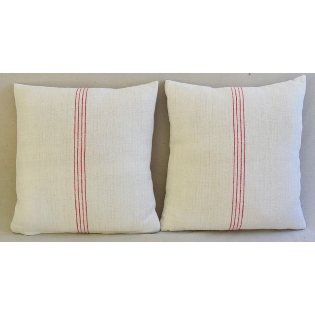 Boho Chic French Country Red Striped Gain Sack Pillows - Pair For Sale - Image 3 of 11