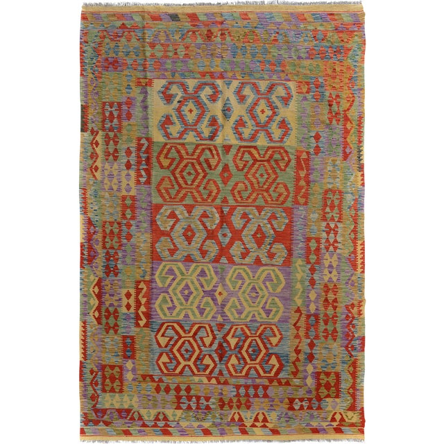 "Kilim Arya Jarrod Gold/Red Wool Rug - 6'5"" X 9'8"" A9288 For Sale"