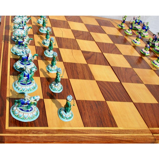 1990s Indian Silver Enamel Mahogany Chess Set For Sale - Image 5 of 11