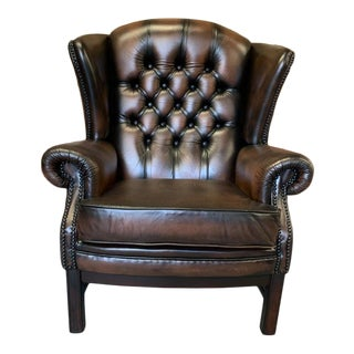 Vintage Mid-Century English Leather Chesterfield Wingback Chair, Brown For Sale