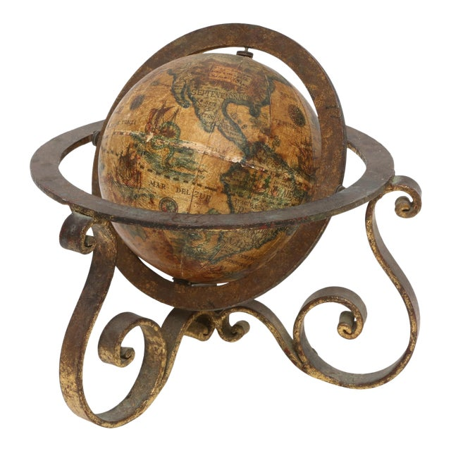 Italian Mini Old World Globe with Brass stand For Sale
